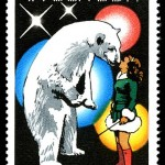 Photo: German public Domain: Stamp 'Circus Arts', 1978 stamps of the German Democratic Republic. Trainer girl with Polar bear.