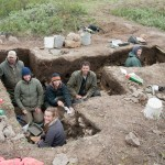 archaeologists in dig site
