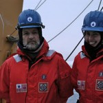 Bob and Kristina on deck in their cold weather gear.