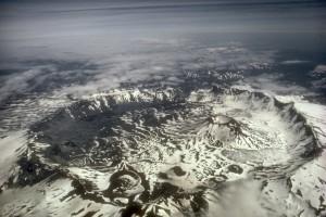 Aniakchak volcanic caldera from above