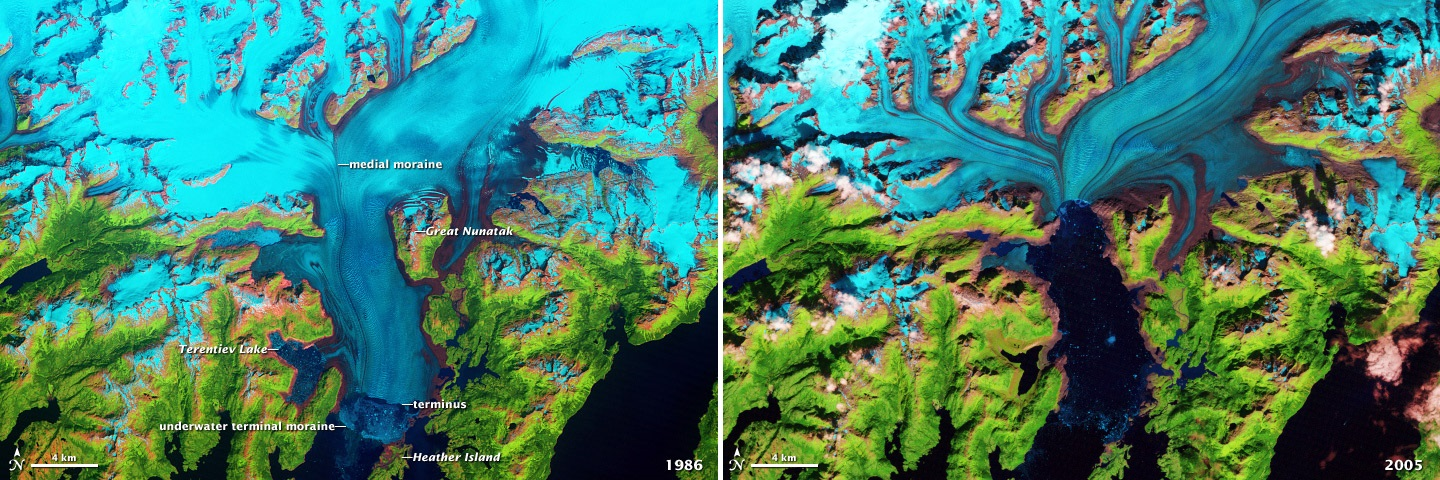 Columbia Glacier before after retreat 1986 2005