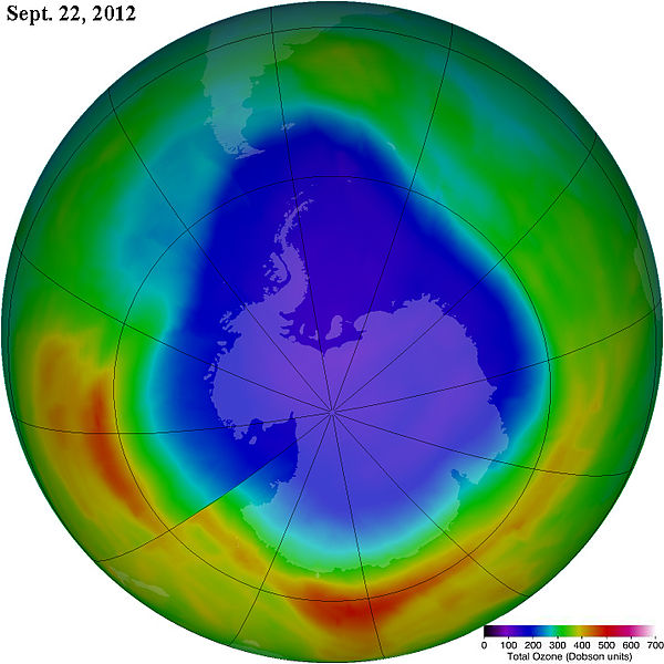 Antarctic ozone hole 2012