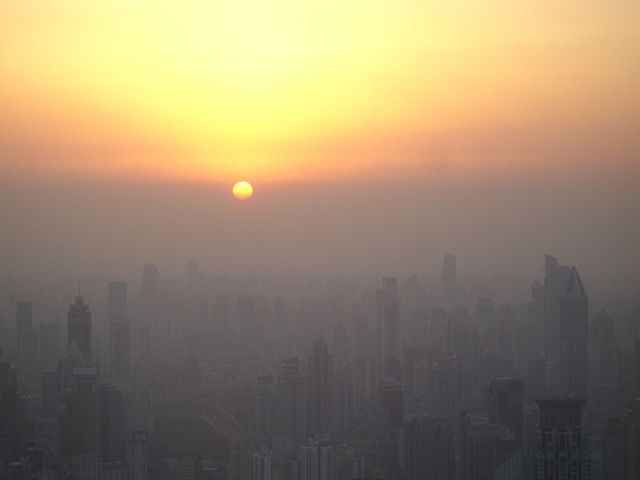 Shanghai sunset smog pollution