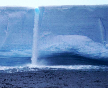 iceberg meltwater waterfall