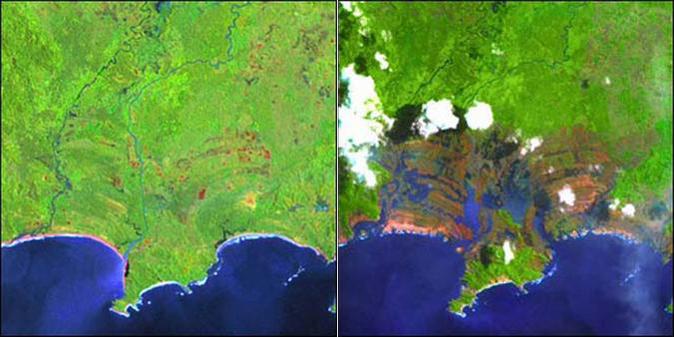 Landsat image tsunami damage Sumatra
