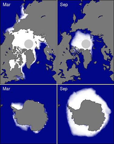 sea ice extent at poles
