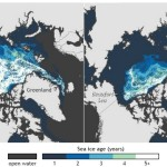 Map of Arctic sea ice thickness and extent, March 1988 vs. March 2013 / Cortesy NOAA Climate.Gov, based on data provided by Mark Tschudi, University of Colorado