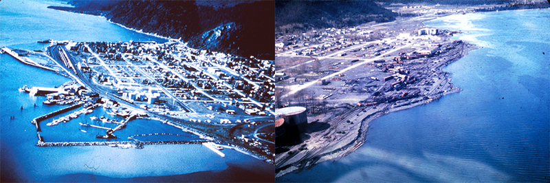 Seward Alaska before and after tsunami earthquake 1964