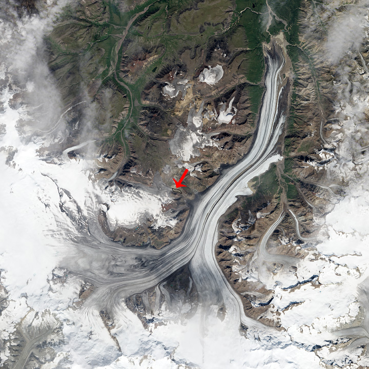 Wrangell-St. Elias National Park landslide 2013 satellite image