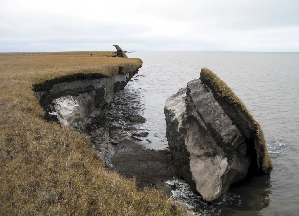Collapsed permafrost block of coastal tundra on Alaska's Arctic Coast / Courtesy USGS Alaska Science Center