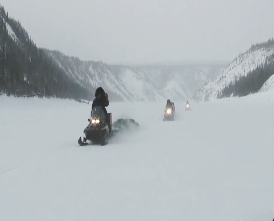 Driving snowmobiles / 2007 expedition footage