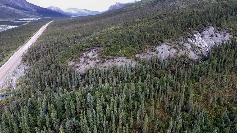 Frozen debris lobe -A, aerial view / FrontierScientists footage