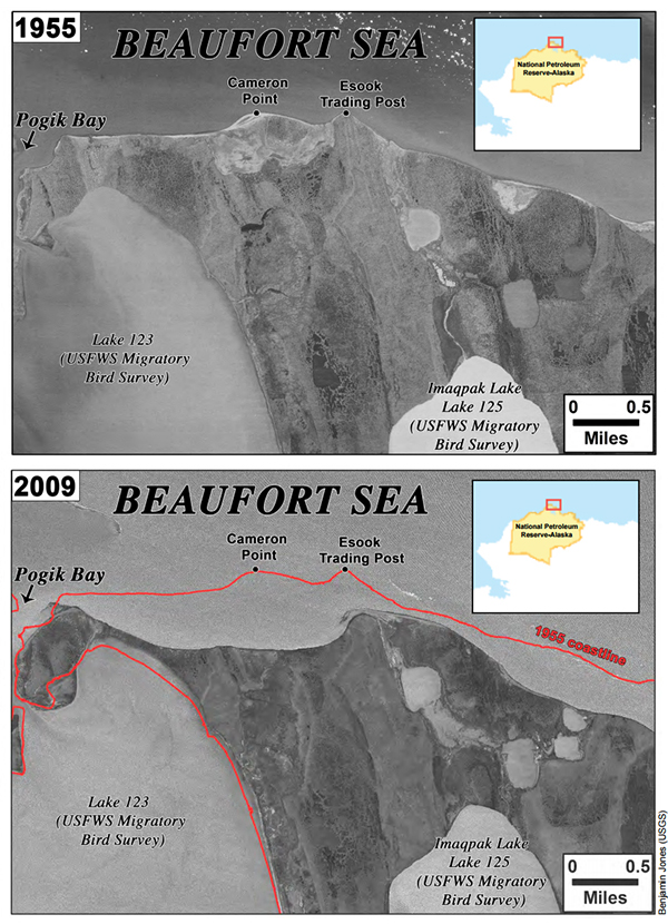 BLM Alaska lands coast erosion loss satellite view