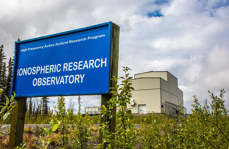The entrance of the upper-atmosphere research station near Gakona now owned by the University of Alaska. / UAF photo by Todd Paris