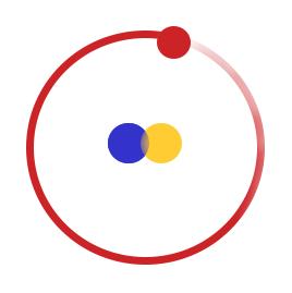 Atom basic building blocks: proton and neutron circled by electron / Laura Nielsen