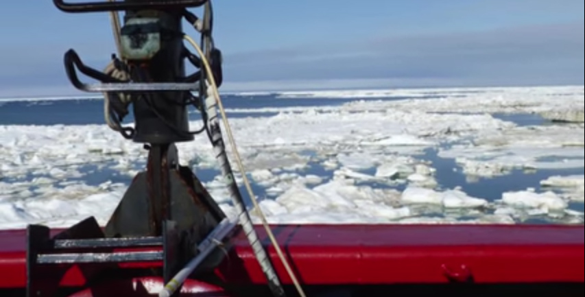 A view of ice on ocean waters from the deck of research vessel USCG Healy taken during the course of research led by Dr. Jeff Welker of UAA
