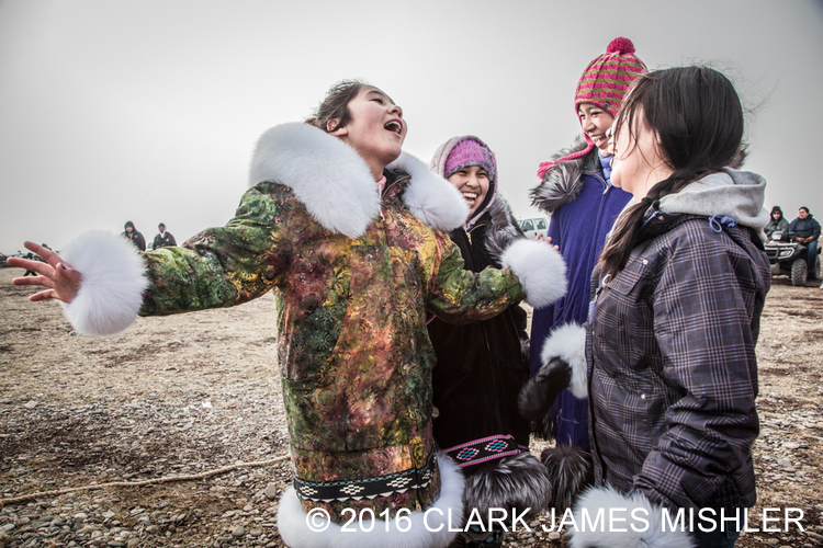 Shauna, Rita, Jaidyn and Shaylin at Unagsiksiksauq (Clan Boat Celebration), Qagruq (Whaling Feast), Point Hope, The Purchase Centennial Project / Photo by Clark Mishler