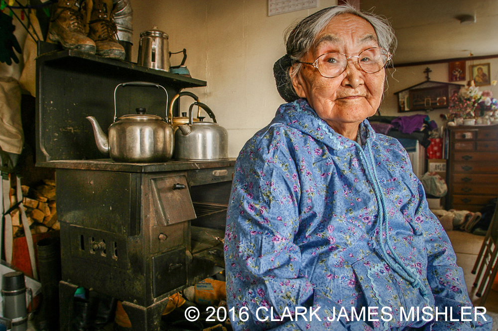 Yupik elder, Olinka K. Nicolai, at her home in the Yup'ik village of Kwethluk, Alaska / Photo by Clark James Mishler
