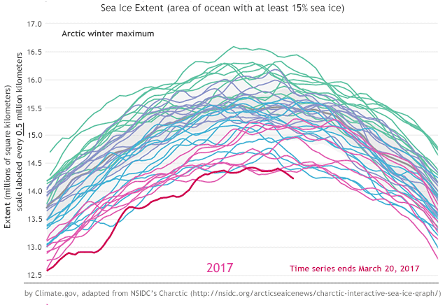 Arctic Sea Ice, record low sea ice maximum recorded March 2017 / Courtesy NOAA climate.gov, from NSIDC Charctic data